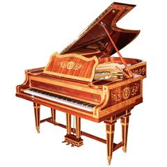 Single Handmade German Luxury Grand Piano Richard 7th with Inlays High Gloss