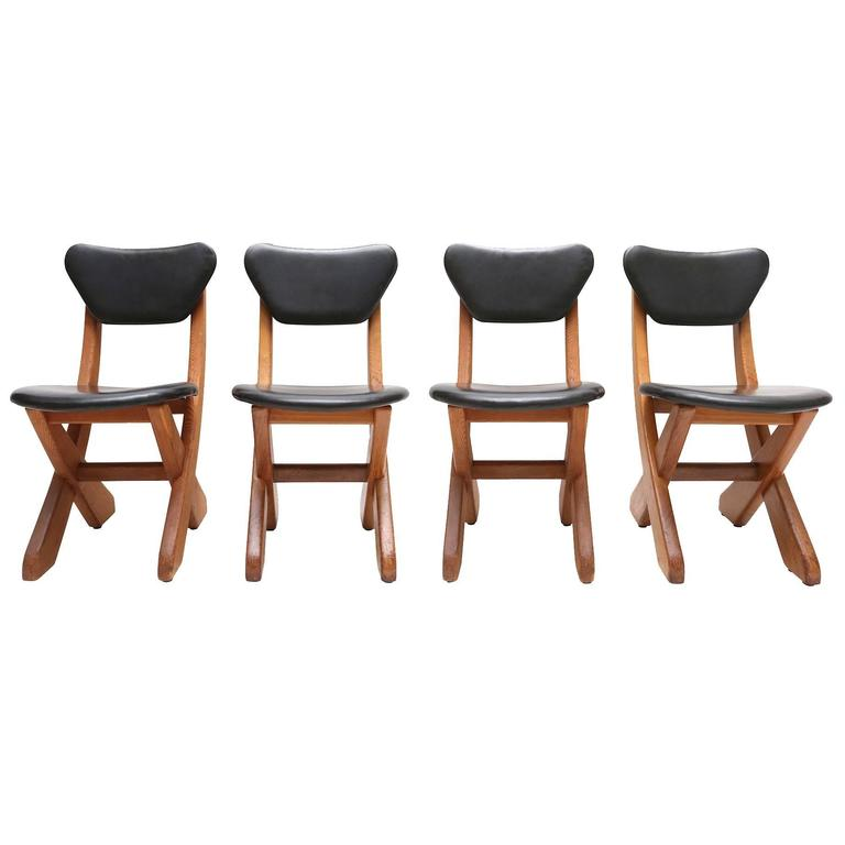 Mid Century Modern Danish Black Leather Dining Chairs For Sale At