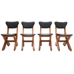 Mid-century modern Danish black Leather dining chairs