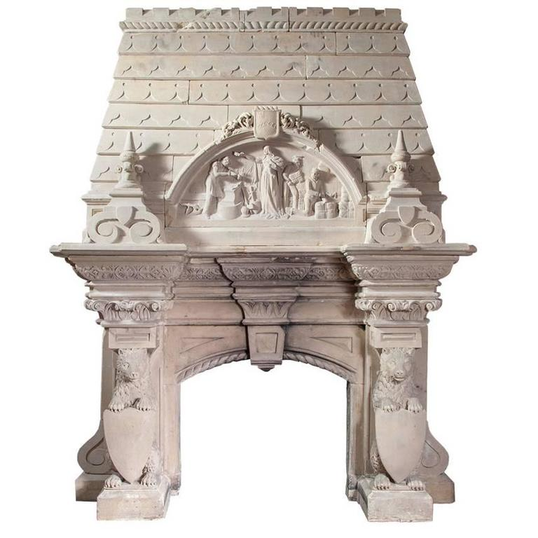 Magnificent Antique Limestone Fireplace
