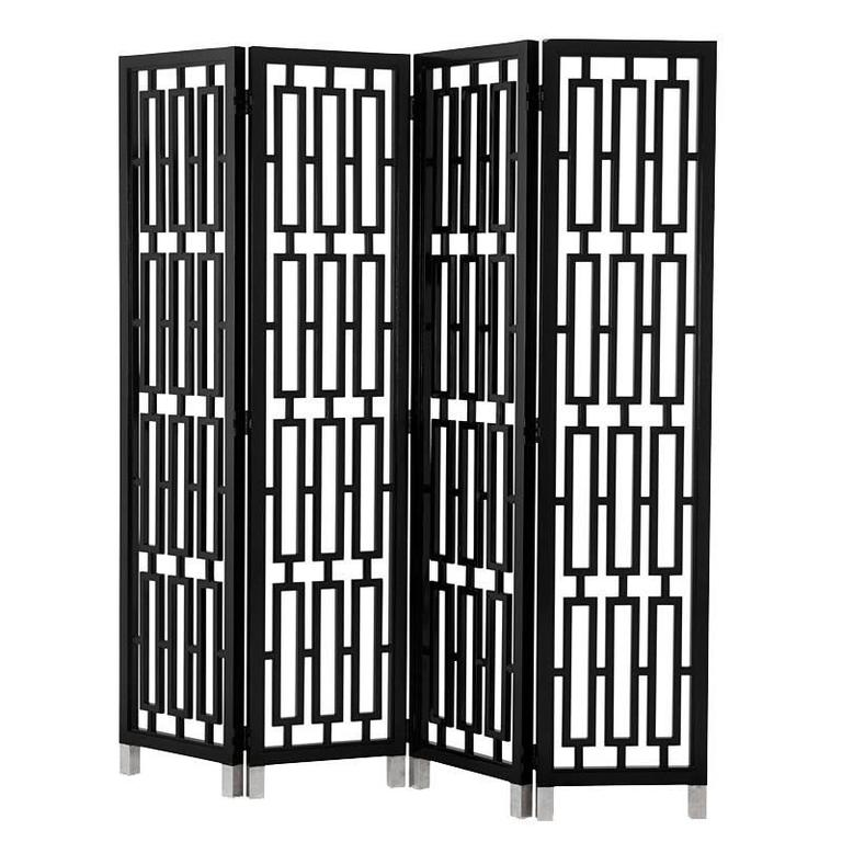Black Lacquered Folding Screen Mahogany Wood