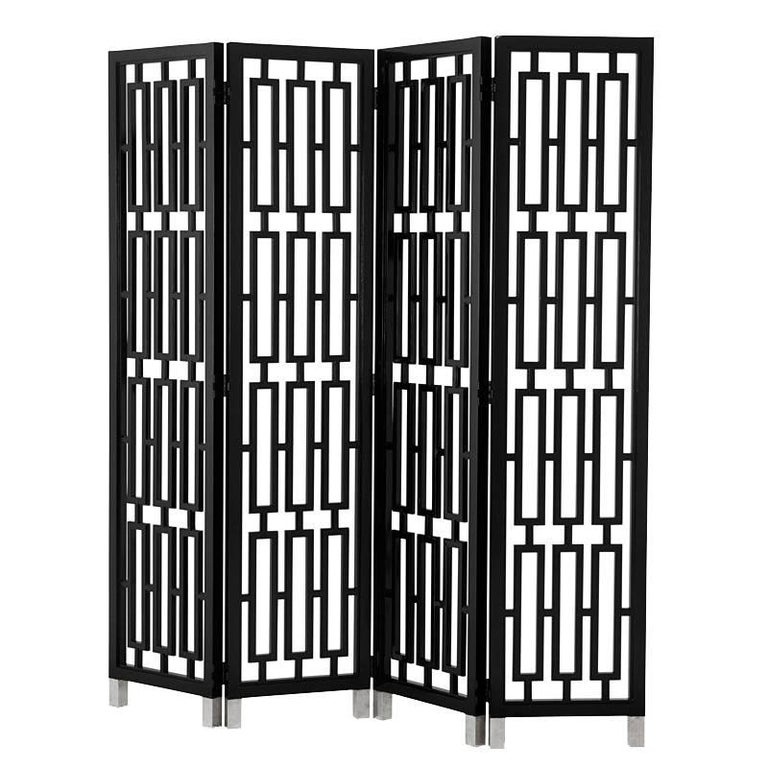 Black Lacquered Folding Screen Mahogany Wood For Sale
