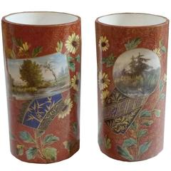 French Aesthetic Period Pair of Japanisme Red Faience Cylinder Vases