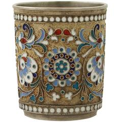 1900s Russian Silver Gilt and Polychrome Cloisonné Enamel Vodka Cup or Beaker