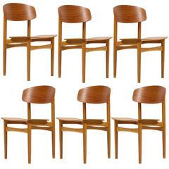 Børge Mogensen Set of Six Model 122 Chairs by Søborg