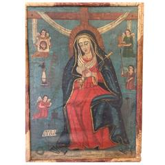 19th Century Mexican Folk Art Madonna Retablo/Painting
