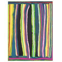 Bright Striped Painting by Australian Aboriginal Artist Dolly Snell