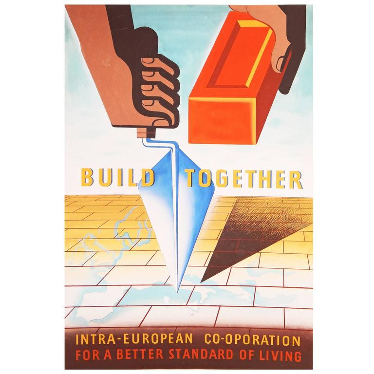 """""""Build Together,"""" Important 1950 Painting for Marshall Plan Poster Competition"""