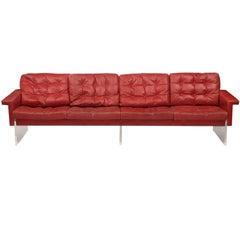 Italienisches Vintage-Sofa aus rotbraunem Leder und Acryl, 1970er Jahre