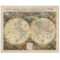 Mappe-Monde Ou Carte Generale De La Terre Divisee En Deux Hemispheres