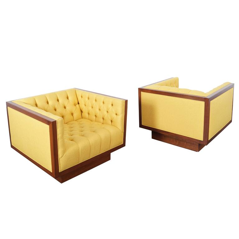 Vintage Tufted Lounge Chairs by Milo Baughman at 1stdibs