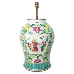 Large 19th Century Chinese Famille Rose Porcelain Vase Lamp