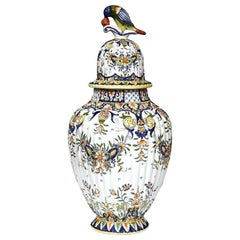19th Century French Hand-Painted Floral Motifs Vase from Normandy, Dated 1882