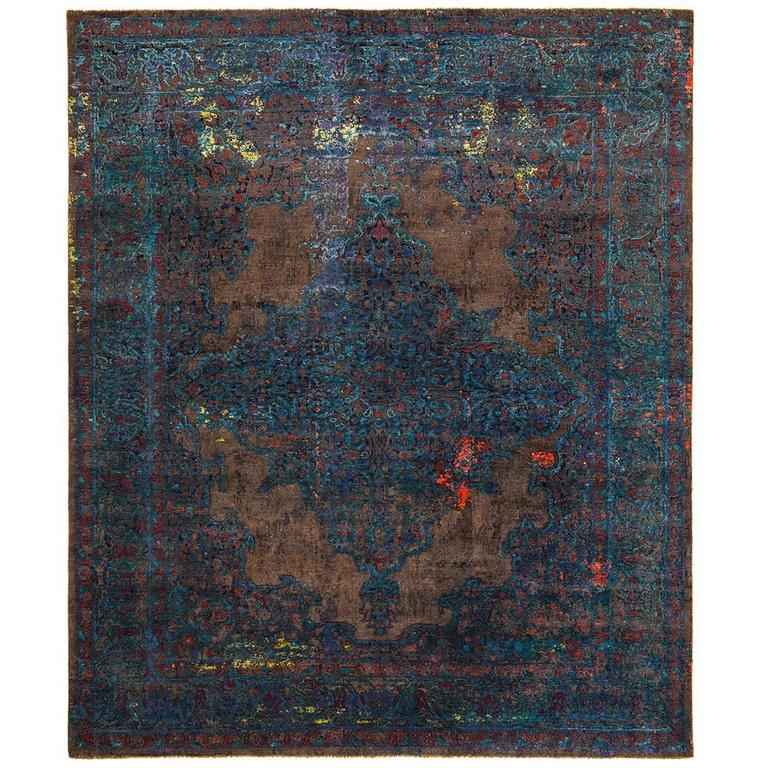 tabriz fashion artwork blue from erased heritage carpet collection by jan kath at 1stdibs. Black Bedroom Furniture Sets. Home Design Ideas