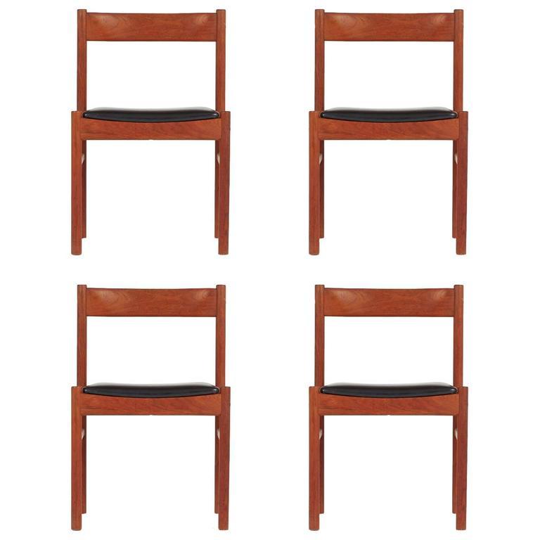 Set of Four Grete Jalk Style Teak Danish Modern Chairs, circa 1960