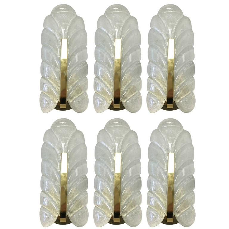 1960s Glass Leaf & Brass Wall Sconces by Carl Fagerlund for Orrefors, Set of Six