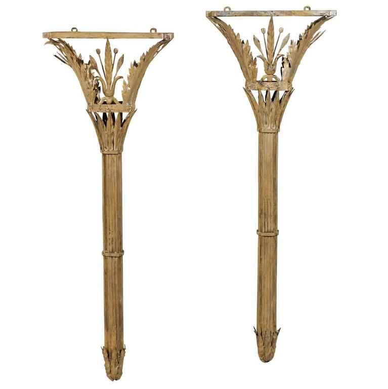 Metal Shaped Wall Lights : Italian Torch Shaped Sconces Made of Painted Metal with Floral and Star Details For Sale at 1stdibs