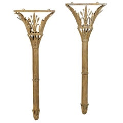 Italian Torch Shaped Sconces Made of Painted Metal with Floral and Star Details