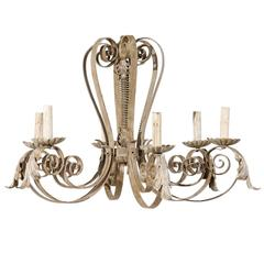 French Six-Light Painted Metal Chandelier with Acanthus Leaves and Scroll Arms