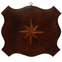 Fine Shaped Burl Tabletop with Compass Star Inlay