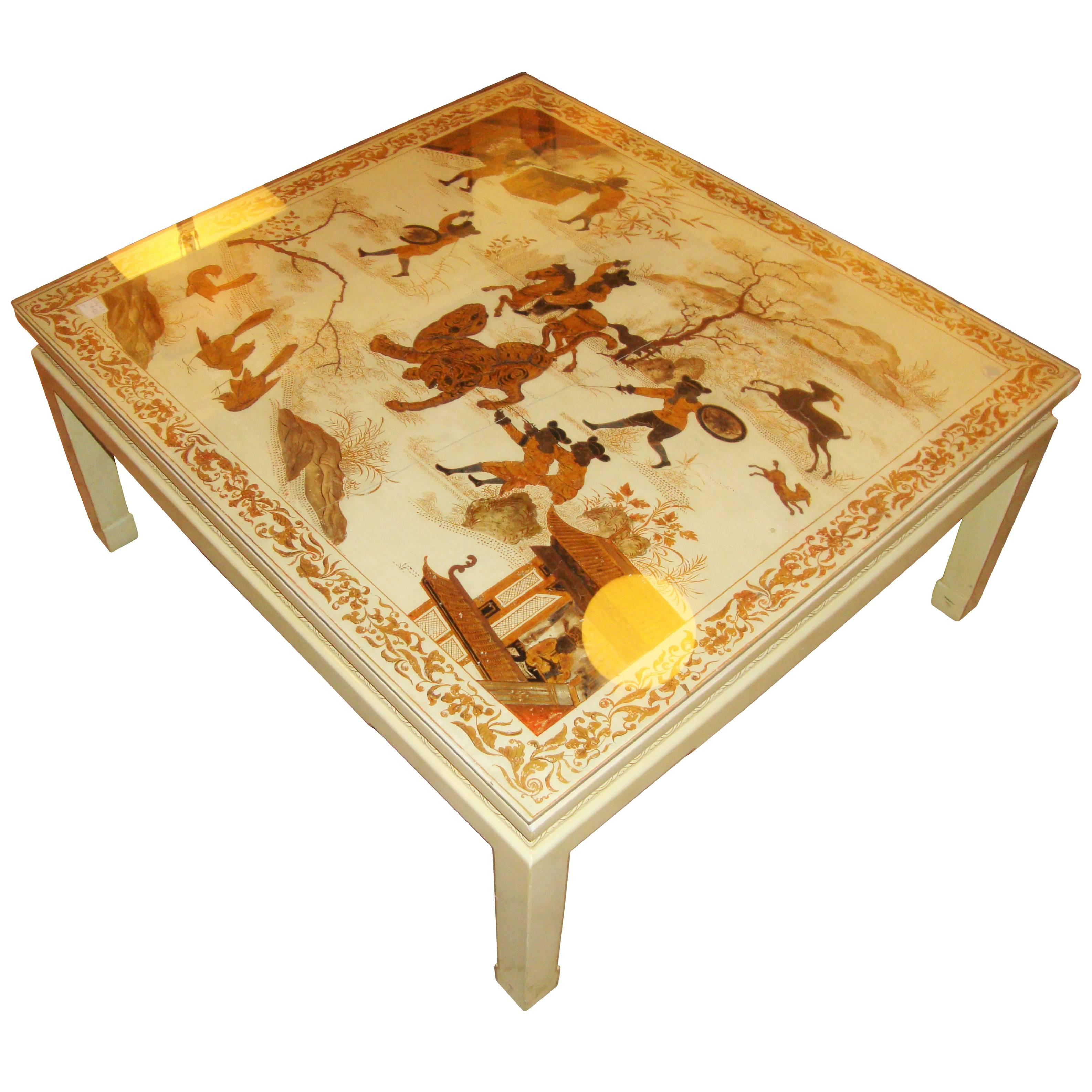 Custom Chinoiserie Paint Decorated Coffee Table