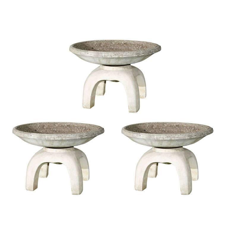 Round Concrete Japanese Planter