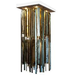 Crystal Fall Chandelier Pendant Lamp Lighting Silvered Glass Stripes Hammered