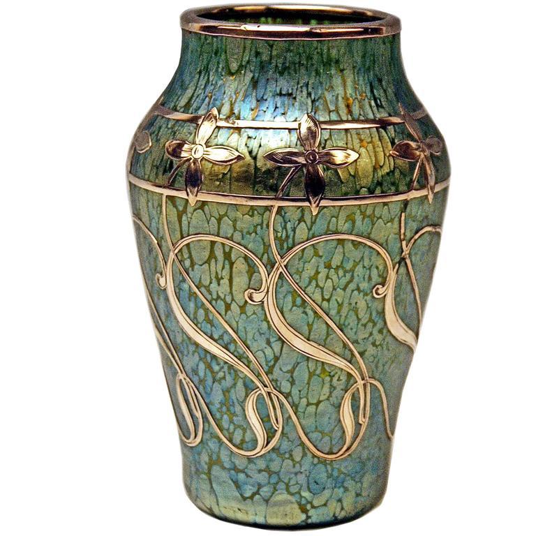 loetz vase art nouveau cobalt papillon with silver flowers. Black Bedroom Furniture Sets. Home Design Ideas