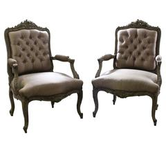 Elegant Pair of Louis XV Style Carved and Painted Armchairs, circa 1860