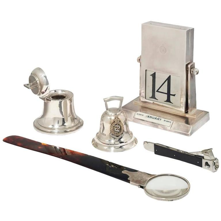 Group of Silver and Silver Plate Desk Objects, Early 20th Century