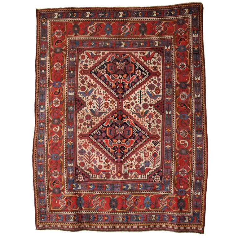 Antique South West Persian Khamseh Tribal Rug, U0027Birdu0027 Design, ...