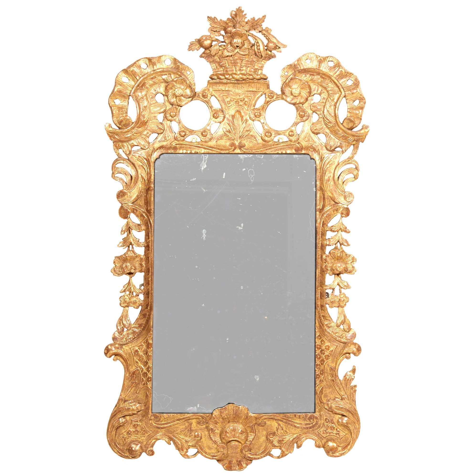 18th Century Irish Carved Giltwood Mirror
