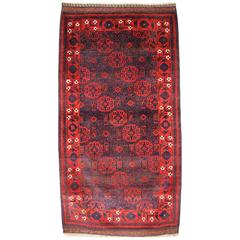 Antique Baluch Rug from Western Afghanistan, Superb Floral Border, circa 1880