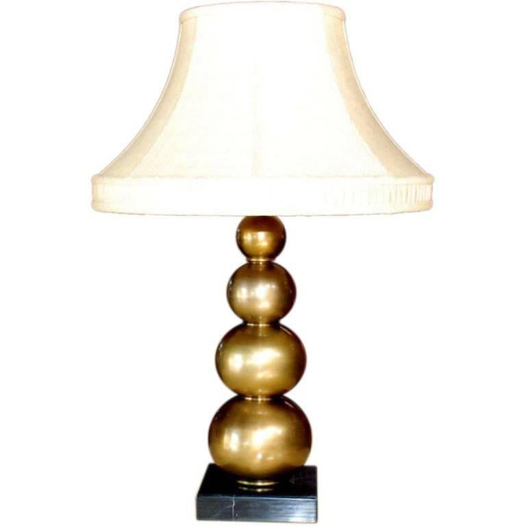 Brass Table Lamp with Marble Base