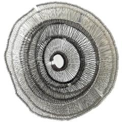 Eric Gushee Woven Wire Metal Sculpture, Silver and Black, Emergence Series, 2016