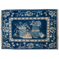 Extremely Rare Early 20th Century Pictorial Khotan Rug