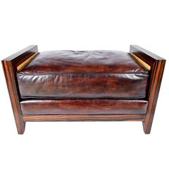 Modern Leather Bench with Brazilian Wood Frame
