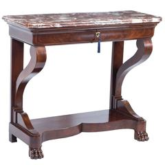 19th Century French Charles X Mahogany Console Table