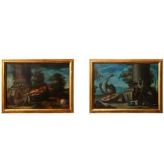 Pair of Framed Oil on Canvas Depicting Wildlife and Fruit