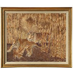 Victorian Period Japanese Embroidered Silk Panel of a Tiger Family