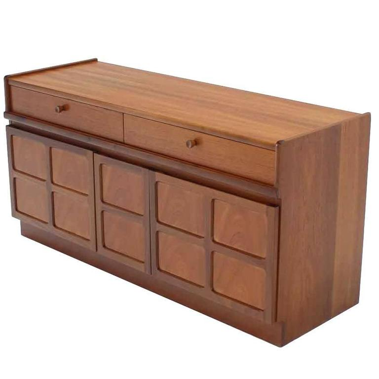 Small Danish Modern Teak Credenza with Concealed File Cabinet