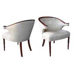 Shapely Pair of English Regency-Inspired Mahogany Salon Chairs