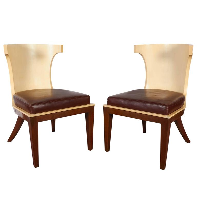 Pair of Ernest Boiceau French Art Deco Gondola Chairs in Mahogany