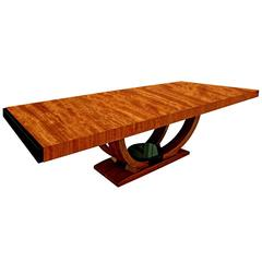 "Karl Springer ""Art Deco Dining Table"" in French Ribbon Mahogany, 1980s"