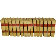 Spanish 19th Century 15 Volume Set of Vellum Encyclopedias