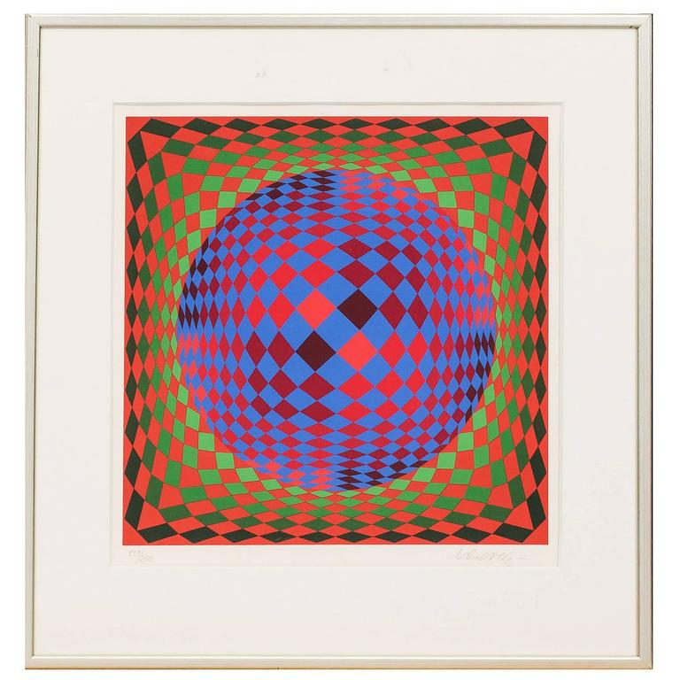 Beautiful Geometric Print by Victor Vasarely