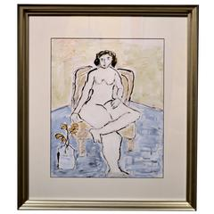 Expressionist Abstract Portrait of a Female Nude in Chair by JoAnne Fleming