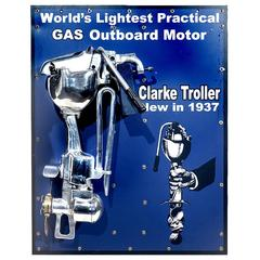 Beautiful Clark Outboard Motor on Display Board