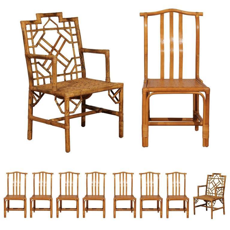 Elegant Set of Ten Restored Vintage Rattan Dining Chairs