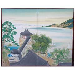 Japan Elegant Waterscape Sail Boats Lake Two-Panel Silk Screen Blue Dazzler 1930